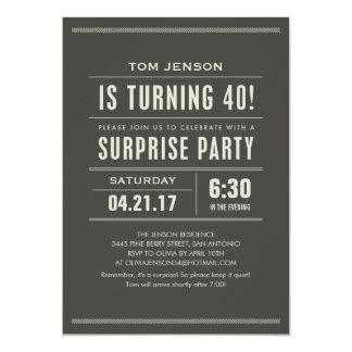 Convites do aniversário de 40 anos da surpresa convite 12.7 x 17.78cm