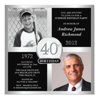 Convites do aniversário de 40 anos então & agora convite quadrado 13.35 x 13.35cm