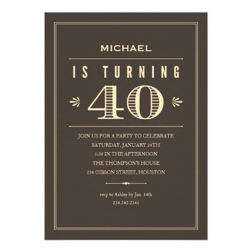 Convites do aniversário de 40 anos para homens