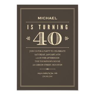 Convites do aniversário de 40 anos para homens convite 12.7 x 17.78cm