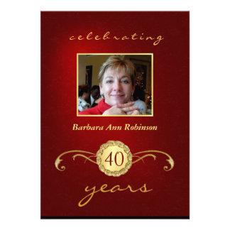 Convites do aniversário de 40 anos - vermelho & mo