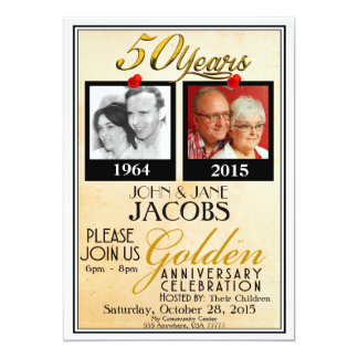 Convites do aniversário de casamento do ouro 50th
