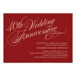 Convites do aniversário de casamento do rubi