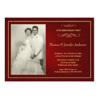 Convites do aniversário de casamento do rubi - convite 12.7 x 17.78cm