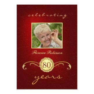 convites do aniversário do 80 - vermelho & convite 12.7 x 17.78cm