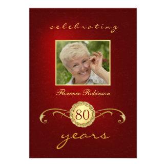 convites do aniversário do 80 - vermelho monogra