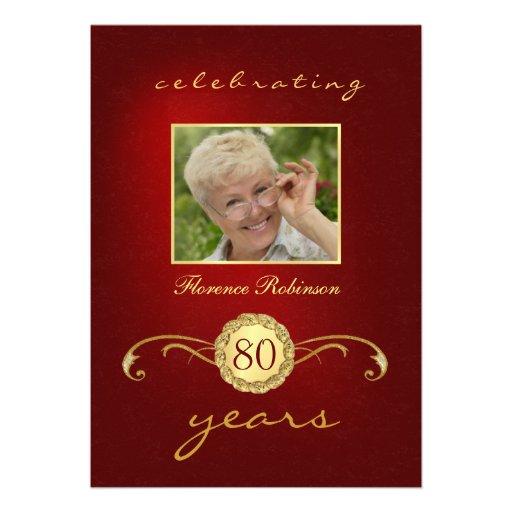 convites do aniversário do 80 - vermelho & monogra