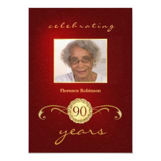 convites do aniversário do 90 - monograma vermelho