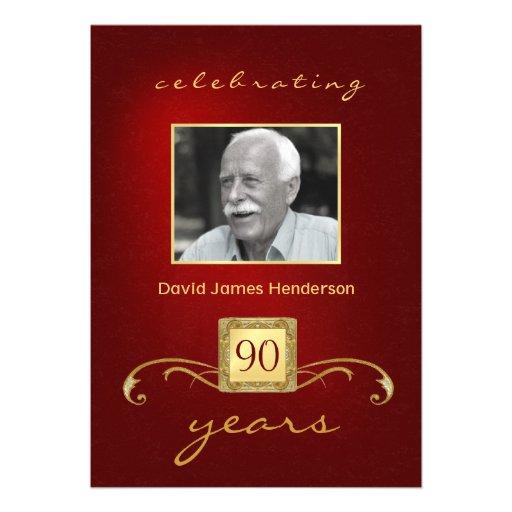 convites do aniversário do 90 - vermelho & ouro do