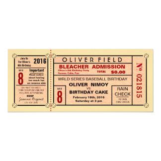 Convites do aniversário do basebol do bilhete do