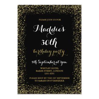 Convites do aniversário do brilho do preto e do