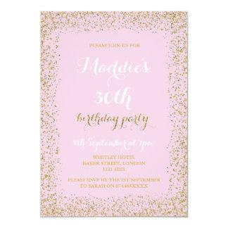 Convites do aniversário do brilho do rosa e do