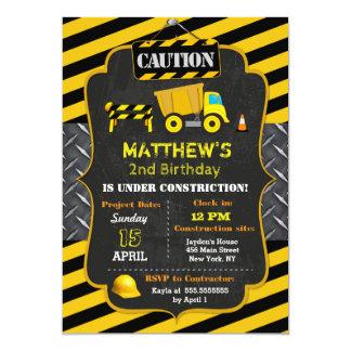 Convites do aniversário do camião basculante da