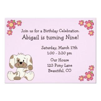 Convites do aniversário do cão de filhote de convite 12.7 x 17.78cm