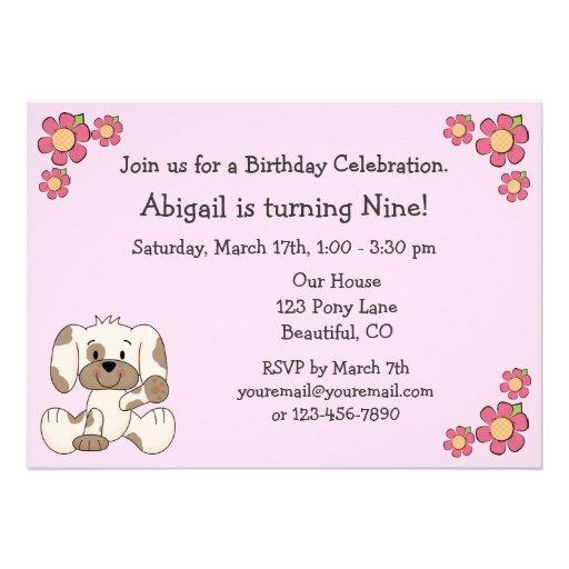 Convites do aniversário do cão de filhote de cacho