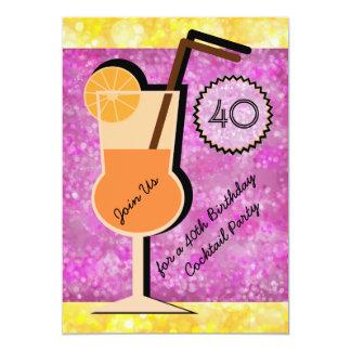 Cartão Convites do aniversário do cocktail de Bokeh