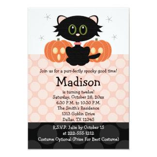 Convites do aniversário do Dia das Bruxas do gato