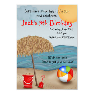 Convites do aniversário do divertimento da praia