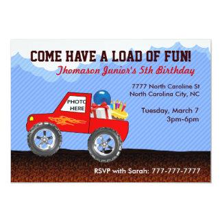 Convites do aniversário do monster truck convite 12.7 x 17.78cm