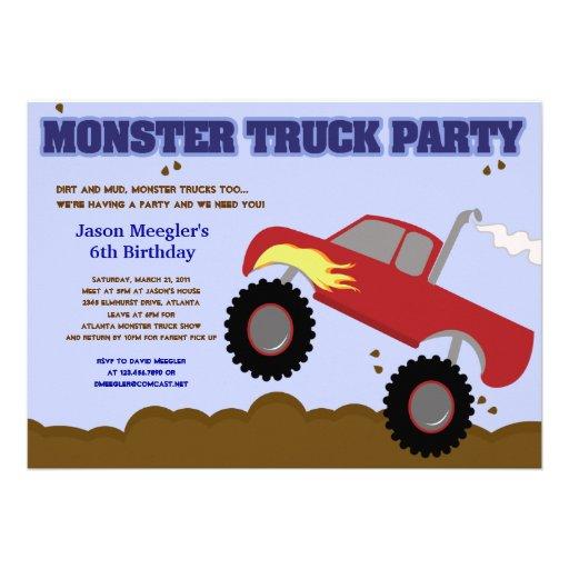 Convites do aniversário do MONSTER TRUCK 5x7 (cami
