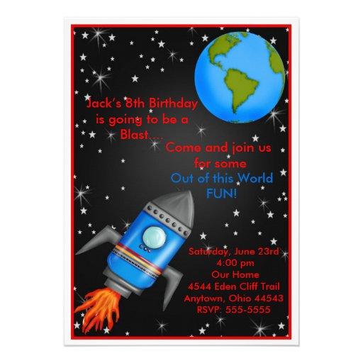 Convites do aniversário do navio de Rocket de espa