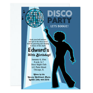 Convites do aniversário do partido de disco