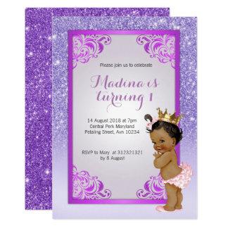 Convites do aniversário do roxo do afro-americano
