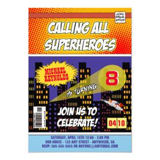 Convites do aniversário do super-herói da banda convite 12.7 x 17.78cm