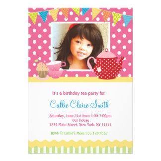 Convites do aniversário do tea party das meninas