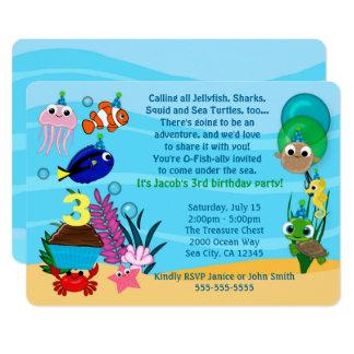 Convites do aniversário dos animais do oceano sob