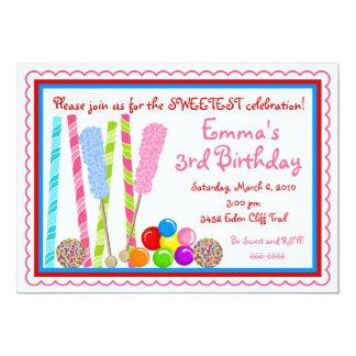 Convites do aniversário dos doces