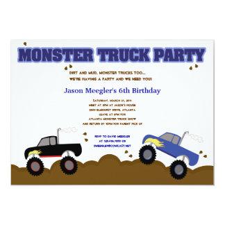 Convites do aniversário dos MONSTER TRUCK 5x7