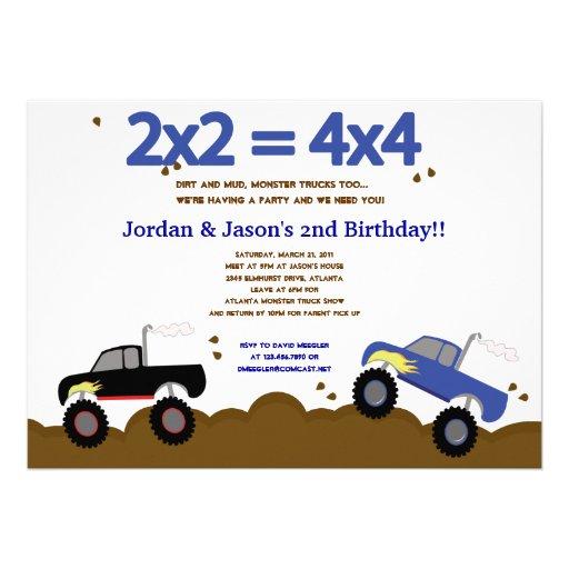Convites do aniversário dos MONSTER TRUCK 5x7 para