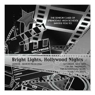 Convites do baile de formatura de Hollywood Convite Quadrado 13.35 X 13.35cm