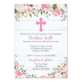 Convites do baptismo para uma menina - flor da