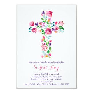 convites do batismo da aguarela, roxo cor-de-rosa
