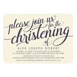 Convites do batismo da caligrafia do marinho & do