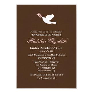 Convites do batismo da pomba do rosa