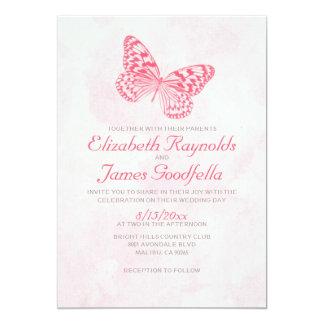 Convites do casamento da borboleta do vintage convite 12.7 x 17.78cm