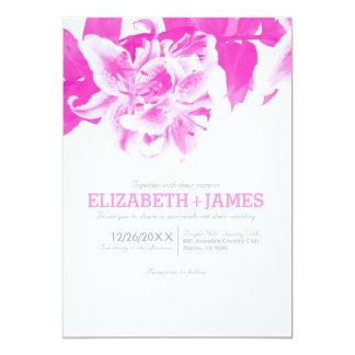 Convites do casamento da flor do rosa quente