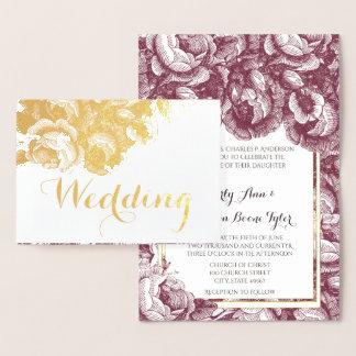 Cartão Metalizado Convites do casamento da folha de ouro do rosa do