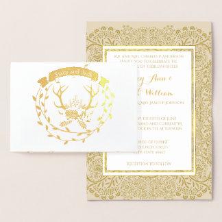 Convites do casamento da grinalda do Antler dos
