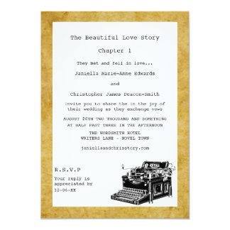 Convites do casamento da máquina de escrever do