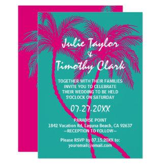 Convites do casamento da palmeira do rosa quente