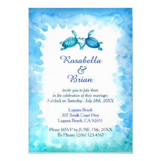 Convites do casamento da tartaruga de mar - azul e