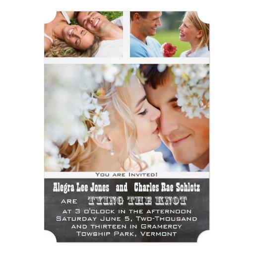 Convites do casamento da tipografia da foto de Cha