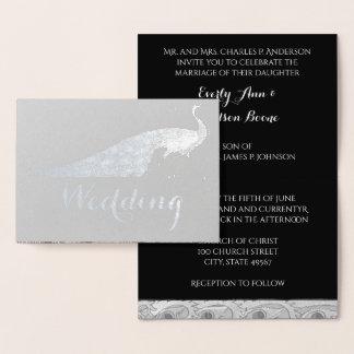 Convites do casamento da tipografia do pavão da