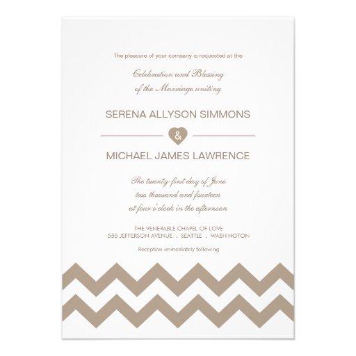 Convites do casamento de Chevron do branco e do Ta