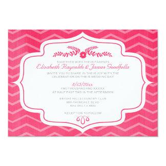 Convites do casamento de Chevron do rosa quente