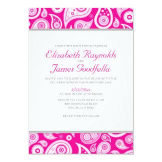 Convites do casamento de Paisley do rosa quente